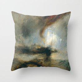 """J.M.W. Turner """"Snow Storm - Steam-Boat off a Harbour's Mouth"""" Throw Pillow"""