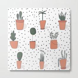 Drawing Garden Pots Metal Print