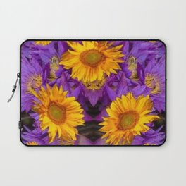 YELLOW SUNFLOWERS AMETHYST FLORALS Laptop Sleeve