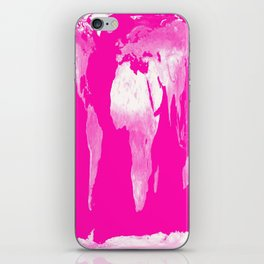 World Map Pink & White iPhone Skin