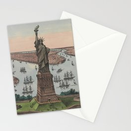 Vintage NYC & Statue of Liberty Illustration (1885) Stationery Cards
