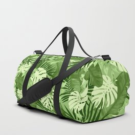 Green Tropical Leaves Pattern Duffle Bag