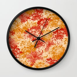 marguerites and chrysanthemums in red and yellow Wall Clock