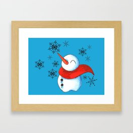 Snowmen and Snowflakes Framed Art Print