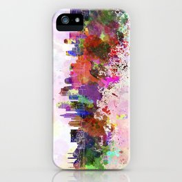 Kansas City skyline in watercolor background iPhone Case