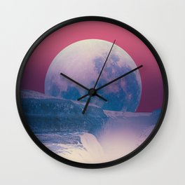 red sky with moon, Iceland Wall Clock