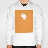 wisconsin Hoodies featuring Wisconsin Minimalist Vintage Map by Finlay McNevin