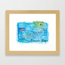 Florida Keys Key West Marathon Key Largo Illustrated Travel Poster Favorite Map Tourist Highlights Framed Art Print
