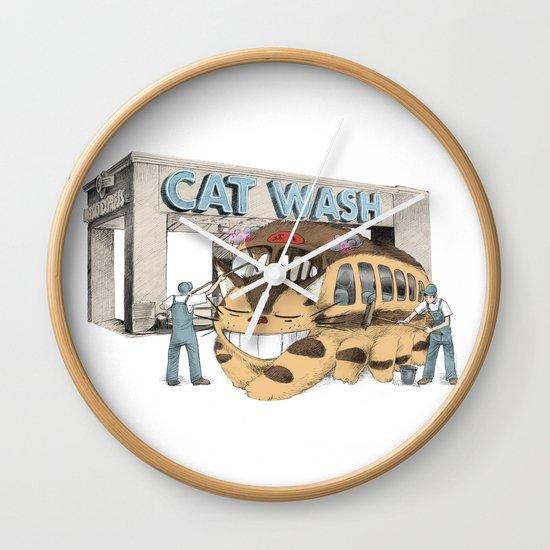 Cat Wash Wall Clock