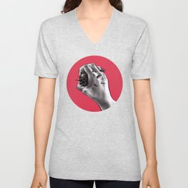 Painful Experiment With Stabbed Hand | Horror Art Unisex V-Neck