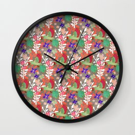 Guacamayas (Macaws) - (red.peach.green) Wall Clock