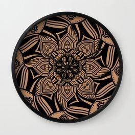 Beige and Black Geometric Mandala Wall Clock