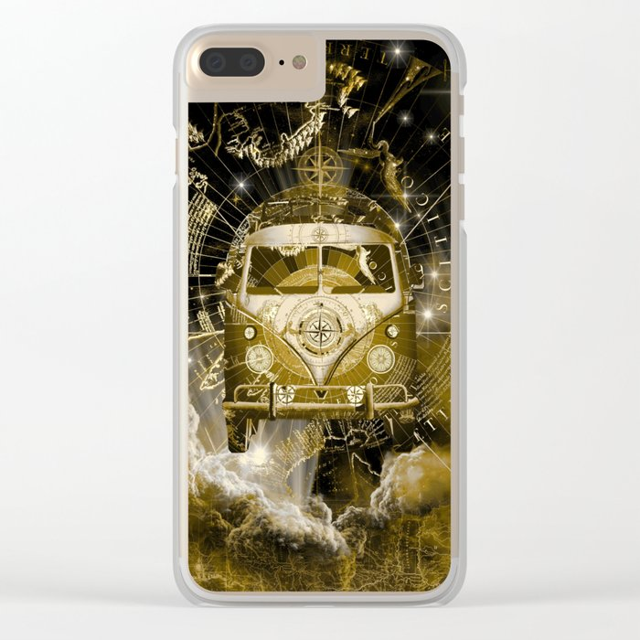 galaxy vintage voyager world map design 3 Clear iPhone Case