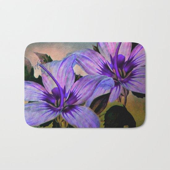 Vintage Painted Lavender Lily Bath Mat