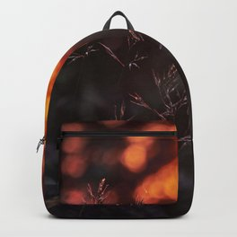 Sunrays Through The Woods. At sunset Backpack