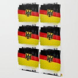 German Distressed Halftone Denim Flag Wallpaper
