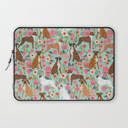 Boxer floral dog breed gifts for boxer lovers pet florals boxers must haves Laptop Sleeve