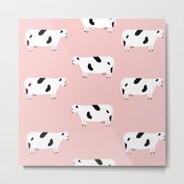 Pink Cow Pattern Metal Print