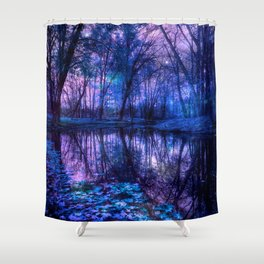 Enchanted Forest Lake Purple Blue Shower Curtain