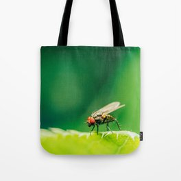 Housefly On A Leaf In Garden, Fly Insect, Macro Photography, Minimalism, Nature Details, Wall Art Tote Bag