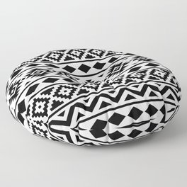 Aztec Essence Ptn III Black on White Floor Pillow