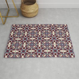SIREN multi-colour repeating pattern burgundy cream indigo Rug