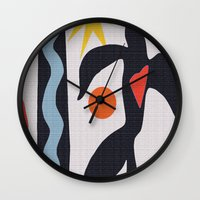 matisse Wall Clocks featuring inspired to Matisse (black) by Chicca Besso