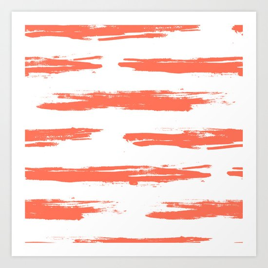 Brushed Stripe Deep Coral on White Art Print