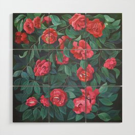 Camellias, lips and berries. Wood Wall Art