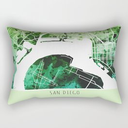 San Diego City Map/ Green Rectangular Pillow