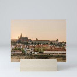 Prague Castle and Vltava river at sunset Mini Art Print