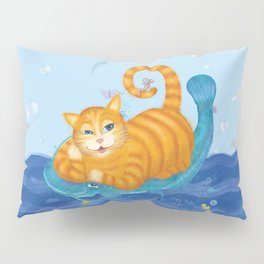 Orange tabby cat & blue catfish  Funny kids illustration Pillow Sham