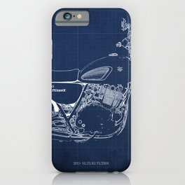 24-2013 Suzuki TU250X BLUE, Bike blueprint, gift for man iPhone Case