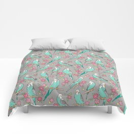 Budgie Birds With Blossom Flowers on Grey Comforters