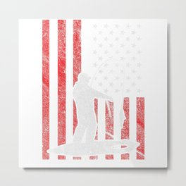 Ice fishing in front of American flag  Metal Print