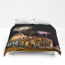 Colosseum illuminated with fireworks in Rome. Comforters