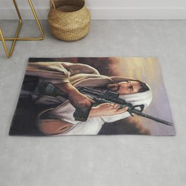 Assault Rifle Jesus Christ Messiah - Who WOuld Jesus Shoot Rug