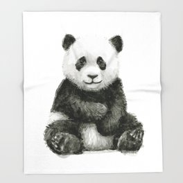 Panda Baby Watercolor Throw Blanket