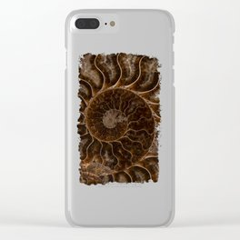Brown Ammonite Clear iPhone Case