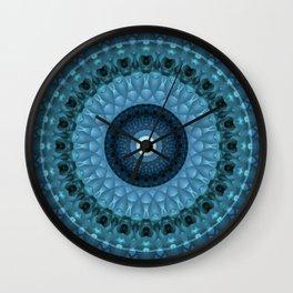 Dark and light blue mandala Wall Clock