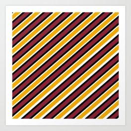 TEAM COLORS 1…Maroon Gold black and white diagonal stripe Art Print