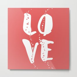 L.O.V.E on pink background Metal Print