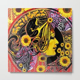 ART NOUVEAU GOLDEN SUNFLOWERS DAY Metal Print