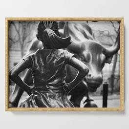 Fearless Girl facing down the Charging Bull statue of Wall Street black and white photography Serving Tray