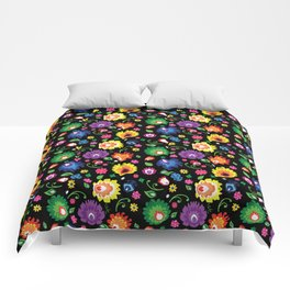 Folk - garden on black background Comforters