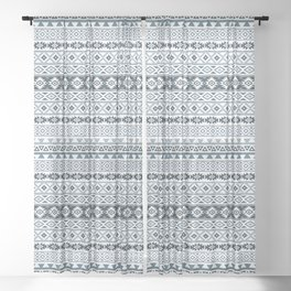 Aztec Stylized Pattern Gray-Blues & White Sheer Curtain