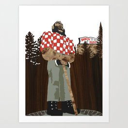 Paul Bunyan Statue (and Dancing Bare stripclub), Portland Oregon Art Print
