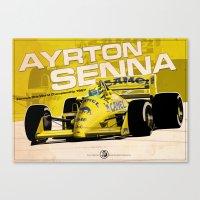 f1 Canvas Prints featuring Ayrton Senna - F1 1987 by Evan DeCiren