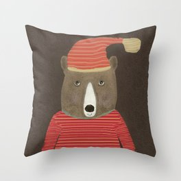 sutton bear Throw Pillow