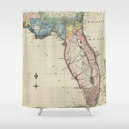 Vintage Map of Florida (1823) Shower Curtain